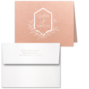 Custom Poptone Peach Classic Note Card with Envelope has Matte White Foil and Shiny Sterling Silver Foil with a Crest Leaf graphic and is good for use in Floral, Wedding themed parties and will impress guests like no other. Make this party unforgettable.