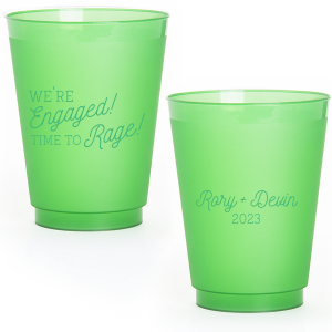 ForYourParty's personalized Green 12 oz Frost Flex Color Cup with Matte White Ink Cup Ink Colors can be personalized to match your party's exact theme and tempo.