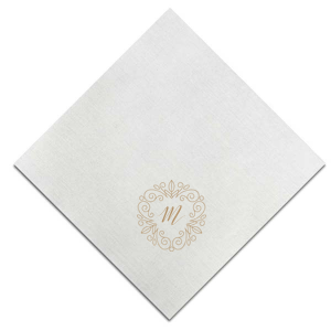 Our custom Fog Heather Dinner Napkin with Matte Ballet Pink Foil can be personalized to match your party's exact theme and tempo.