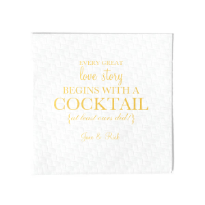 Our personalized Crystal White Cocktail Napkin with Shiny 18 Kt Gold Foil can be personalized to match your party's exact theme and tempo.