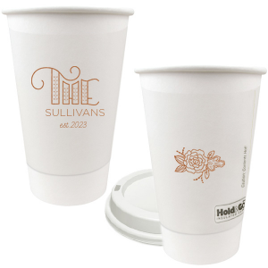 ForYourParty's chic Copper Ink 12 oz Paper Coffee Cup with Copper Ink Screen Print has a Accent The graphic and a Peony Accent graphic and is good for use in Floral, Accents themed parties or just for around the home for your house guests and can be customized to complement every last detail of your party.