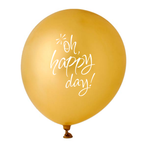 ForYourParty's chic Gold Designer Balloon with White Ink Ink Color has a Oh happy day graphic and is good for use in Wedding, Bridal Shower, Words themed parties and will give your party the personalized touch every host desires.