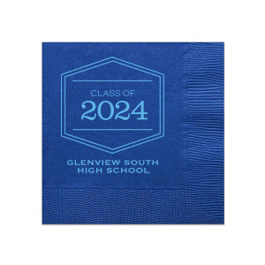 ForYourParty's personalized Royal Blue Cocktail Napkin with Matte Azure Foil Color has a Badge Frame 1 graphic and is good for use in Frames themed parties and can be customized to complement every last detail of your party.