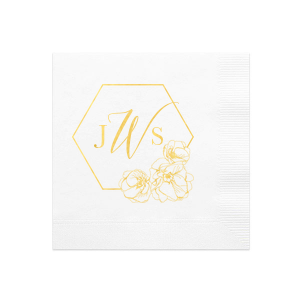 The ever-popular White Cocktail Napkin with Shiny 18 Kt Gold Foil has a Flower Trio graphic and is good for use in Floral, Wedding, Birthday themed parties and can be customized to complement every last detail of your party.