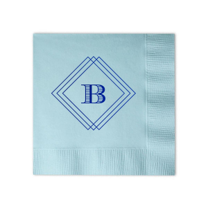 The frame on this napkin will give a gorgeous art deco feel to any party! Personalize with your initial and theme colors to for an experienced hostess touch that will impress at a wedding, birthday party, retirement and more.