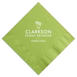 Our personalized Honeydew Cocktail Napkin with Matte Key Lime Foil Color has a Two Palm Trees graphic and is good for use in Beach/Nautical themed parties and will add that special attention to detail that cannot be overlooked.