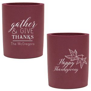 Our beautiful custom Ivory - Natural Round Can Cooler with Matte Merlot Ink Cup Ink Colors has a Two Leaves graphic and is good for use in Floral, Thanksgiving, Organic themed parties and will add that special attention to detail that cannot be overlooked.