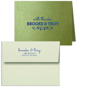 Our beautiful custom Stardream Lime Classic Note Card with Envelope has Satin Copper Penny Foil and Shiny Kiwi / Lime Foil and a Budding Flourish graphic and is good for use in Wedding, Floral themed parties and will look fabulous with your unique touch. Your guests will agree!