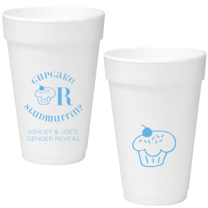 Our custom Matte Azure Ink 16 oz Foam Cup with Matte Azure Ink Print Color has a Kid Cupcake graphic and a Kid Cupcake graphic and is good for use in Kid Birthday, Food, Birthday themed parties and will add that special attention to detail that cannot be overlooked.