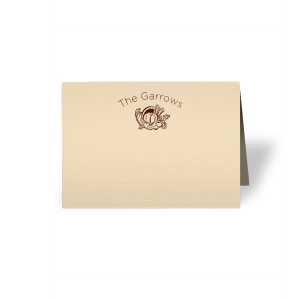 Personalized Natural Ivory Cordial Place Card with Shiny Merlot Foil has a Thanksgiving graphic and is good for use in Holiday themed parties and will give your party the personalized touch every host desires.