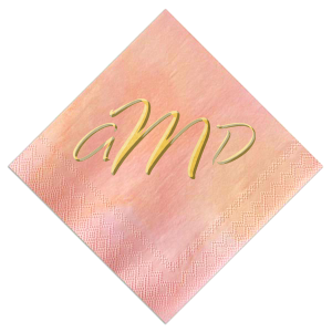 Custom Watercolor Rose Foil Embossed Cocktail Napkin with Shiny 18 Kt Gold Foil are a must-have for your next event—whatever the celebration!