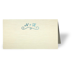 Our personalized Linen Eggshell Runway Place Card with Shiny Turquoise Foil has a Fancy Flourish 2 graphic and is good for use in Accents themed parties and couldn't be more perfect. It's time to show off your impeccable taste.