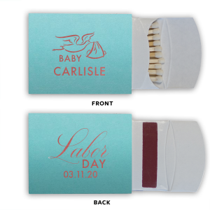 Custom Poptone Tiffany Blue Classic Matchbox with Shiny Rose Quartz Foil has a Newborn graphic and is good for use in Baby Shower themed parties and can be personalized to match your party's exact theme and tempo.