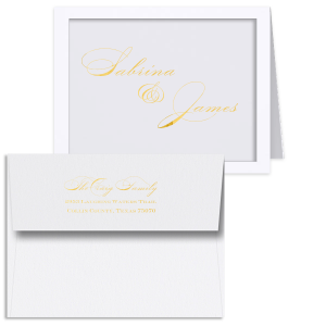The ever-popular Natural Frost White Classic Note Card with Shiny 18 Kt Gold Foil can be personalized to match your party's exact theme and tempo.