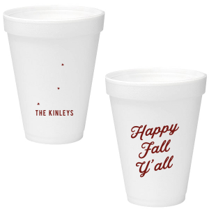 ForYourParty's personalized Matte Merlot Ink 12 oz Styrofoam Cup with Matte Merlot Ink Cup Ink Colors has a Tree RSVP graphic and is good for use in Lovely Press themed parties and will give your party the personalized touch every host desires.