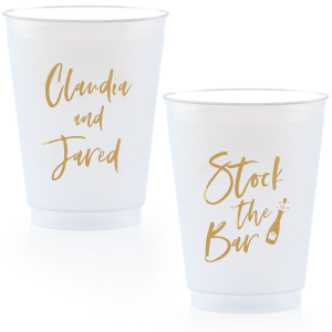 ForYourParty's chic Gold Ink 14 oz Frost Flex Cup with Gold Ink Cup Ink Colors has a Bubbly graphic and is good for use in Drinks, Wedding themed parties and will impress guests like no other. Make this party unforgettable.