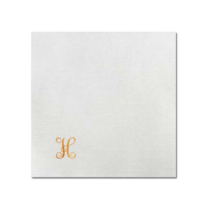 The ever-popular Fog Heather Dinner Napkin with Shiny Copper Foil has an Initial design and can be personalized to match your party's exact theme and tempo.