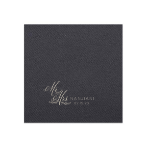 Custom Powder Blue Linen Like Cocktail Napkin with Shiny 18 Kt Gold Foil has a Mr And Mrs 3 graphic and is good for use in Wedding, Words, Anniversary themed parties and will give your party the personalized touch every host desires.