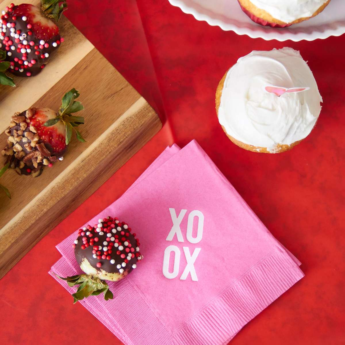 how to host a valentines party with personalized cocktail napkins