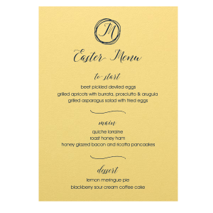 ForYourParty's elegant Poptone Mimosa Rounded Corner Menu with Matte Navy Foil has a Circle Doodle Frame graphic and is good for use in Spring, Easter and Fun Home parties and will add that special attention to detail that cannot be overlooked.