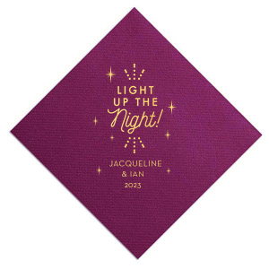 The ever-popular Plum Cocktail Napkin with Shiny 18 Kt Gold Foil has a Light the Night graphic and is good for use in Wedding, Words, Anniversary themed parties and are a must-have for your next event—whatever the celebration!