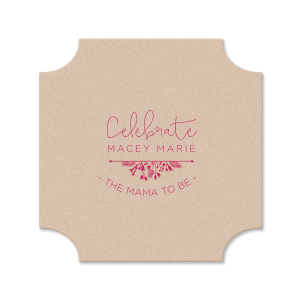 ForYourParty's chic Eggshell Square Coaster with Matte Fuchsia Foil Color has a Garden Flourish 2 graphic and is good for use in Accents themed parties and can't be beat. Showcase your style in every detail of your party's theme!