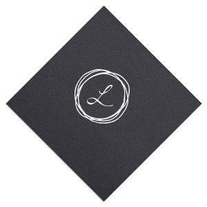 ForYourParty's elegant Black Linen Like Dinner Napkin with Matte White Foil has a Circle Doodle Frame graphic and is good for use in Frames themed parties and couldn't be more perfect. It's time to show off your impeccable taste.
