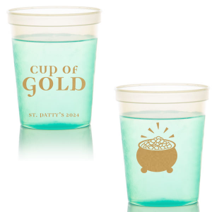 ForYourParty's elegant Green 16 oz Stadium Cup with Gold Ink Cup Ink Colors has a Pot O Gold graphic and is good for use in Holiday, St. Patricks Day themed parties and can be personalized to match your party's exact theme and tempo.