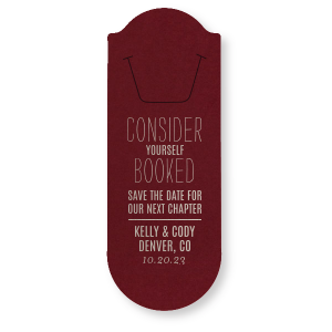 Our personalized Natural Cranberry Rounded Bookmark with Satin Sterling Silver Foil Color will look fabulous with your unique touch. Your guests will agree!