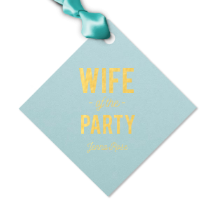 Custom Poptone Sky Blue Diamond Gift Tag with Shiny 18 Kt Gold Foil Color will add that special attention to detail that cannot be overlooked.