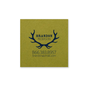 ForYourParty's elegant Poptone Dark Olive Business/Calling Card with Matte Navy Foil has a Antlers graphic and is good for use to add a hunting or woods touch to your business card and can't be beat. Showcase your style in every detail of your business card today!