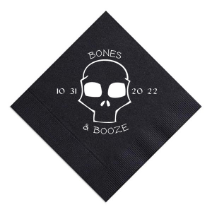 Customize this spooky skull for a fun detail on your bar. Stick with the Black napkin and Matte White for a traditional Halloween look, or choose colors to match your theme. Add the date of your party for a personal touch your guests will love.