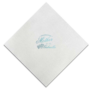 Custom Stone Gray Linen Like Cocktail Napkin with Shiny Turquoise Foil has a Peony Accent graphic and is good for use in Floral, Accents themed parties and can't be beat. Showcase your style in every detail of your party's theme!