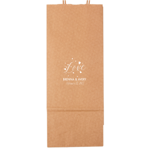 Our custom White Gift Bag with Shiny Rose Gold Foil has a Love Hearts graphic and is good for use in Couple, Wedding, Anniversary themed parties and will make your guests swoon. Personalize your party's theme today.