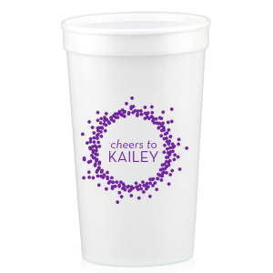 Our beautiful custom White 32 oz Stadium Cup with Matte Amethyst Ink Screen Print has a Confetti Frame graphic and is good for use in Frames themed parties and will add that special attention to detail that cannot be overlooked.