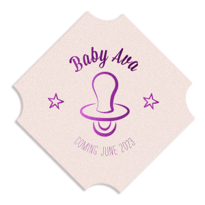Our custom Eggshell Round Coaster with Shiny Amethyst Foil Color has a Pacifier graphic and is good for use in Baby Shower themed parties and will make your guests swoon. Personalize your party's theme today.