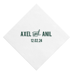 Our beautiful custom White Quick Ink Printed Cocktail Napkin with Matte Spruce Digital Print Color has a  And Accent graphic and is good for use in  Wedding, Anniversary and Engagement  themed parties and will add that special attention to detail that cannot be overlooked.
