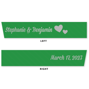 "Personalized Leaf 5/8"" Satin Ribbon with Satin Sterling Silver Foil Color has a Hearts 2 graphic and is good for use in Wedding, Hearts themed parties and will make your guests swoon. Personalize your party's theme today."