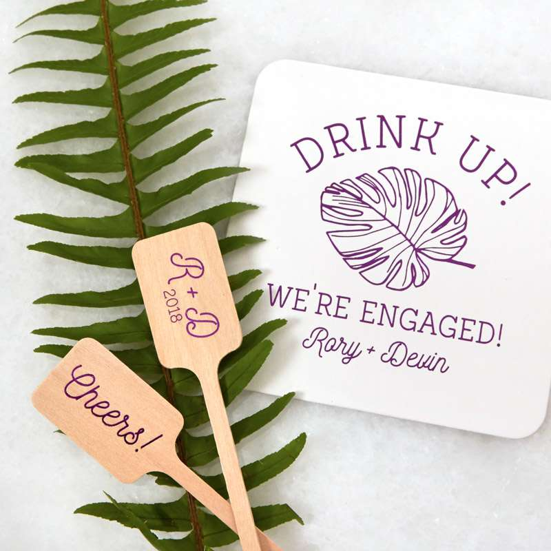 drink up coaster with palm branch