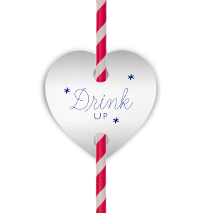 Our personalized Stardream Crystal White Heart Straw Tag with Shiny Royal Blue Foil Color can be customized to complement every last detail of your party.