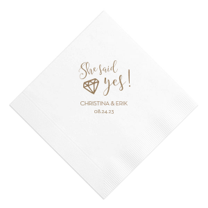Our custom White Cocktail Napkin with Shiny Champagne Foil has a Diamond graphic and is good for use in Wedding, Bridal Shower themed parties and can be customized to complement every last detail of your party.