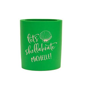 Our custom Spring Green Flat Can Cooler with Matte Pastel Pink Ink Cup Ink Colors has a Shell 1 graphic and is good for use in Beach/Nautical themed parties and can't be beat. Showcase your style in every detail of your party's theme!