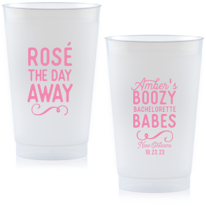ForYourParty's elegant Yellow 16 oz Frost Flex Color Cup with Matte Ballet Pink Ink Cup Ink Colors has a Fancy Flourish 6 graphic and a Fancy Flourish 6 graphic and is good for use in Accents themed parties and can be customized to complement every last detail of your party.