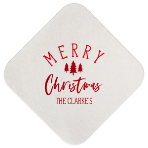 "Merry Christmas - Convertible Red - Square Coasters - Personalized - Set of 75 - 4 x 4"""" by ForYourParty.com"