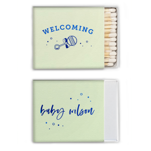 Custom Poptone Mint Lipstick Matchbox with Shiny Turquoise Foil has a Baby Rattle graphic and is good for use in Baby Shower themed parties and will add that special attention to detail that cannot be overlooked.
