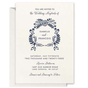 The ever-popular Lettra Pearl White 110lb Invitation with Navy Letterpress Ink has a Rustic Floral Frame graphic and is good for use for Wedding or Anniversary themed parties and are a must-have for your next event—whatever the celebration!