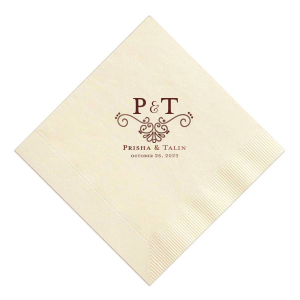 Our beautiful custom Ivory Cocktail Napkin with Shiny 18 Kt Gold Foil Color has a Swirls Accommodation graphic and is good for use in Lovely Press themed parties and will impress guests like no other. Make this party unforgettable.