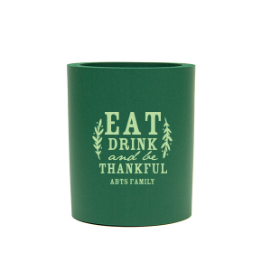 Our personalized Hunter Round Can Cooler with Matte Sage Ink Cup Ink Colors can be personalized to match your party's exact theme and tempo.