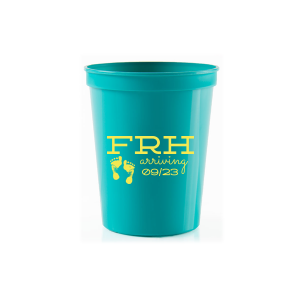 Our custom Teal 16 oz Stadium Cup with Matte Mimosa Yellow Ink Cup Ink Colors has a Footprints graphic and is good for use in Baby Shower themed parties and will make your guests swoon. Personalize your party's theme today.