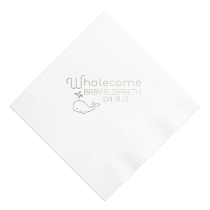 Our personalized White Cocktail Napkin with Shiny Turquoise Foil has a Whale graphic and is good for use in Animals, Birthday, Kid Birthday and Baby Shower themed parties and will add that special attention to detail that cannot be overlooked.